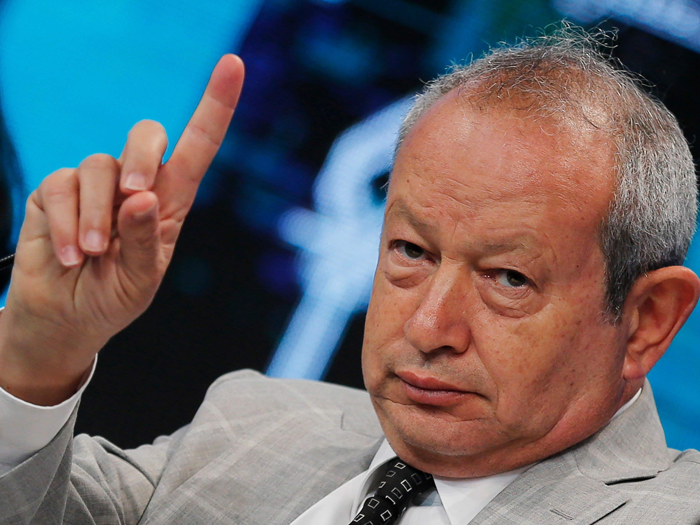 Egyptian billionaire Naguib Sawiris, chairman of Orascom TMT Holding, speaks during the Egypt Economic Development Conference (EEDC) in Sharm el-Sheikh, in the South Sinai governorate, south of Cairo, March 2014